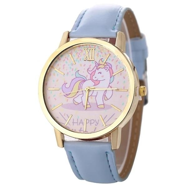 watch unicorn in leather blue
